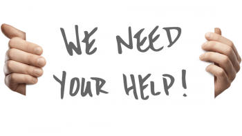 """Two hands holding a sign that says: """"We need your help!"""""""