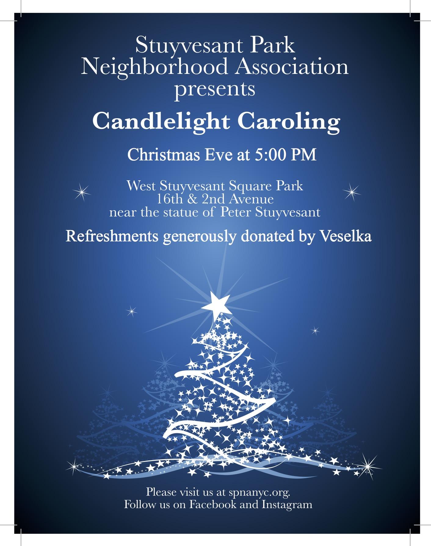 SPNA Candlelight Caroling Poster