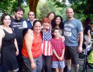 Special group photo last year on 4th of July: l to r. Guillermina Quiroga—one of the internationally known stars of the Argentine tango; her brother and one of our top DJs, Carlos Quiroga; Jon Tarig, local teacher and milonga organizer who will teach for us this year; Renee Rouger, tango host and dancer; Tango singer Diana Lopez; Mariano Lugiudice, partner of Guillermina, Laura Vilche, bandoneon player; me, Lucille Krasne, tango organizer of Esmeralda's Milongas; last is the son of Guillermo Vaisman, musician, leader of UN choral singers among other roles.