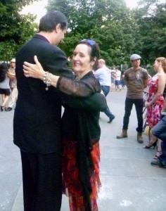Our fearless leader, Rosalee with performer Eduardo Goytia, teacher/performer